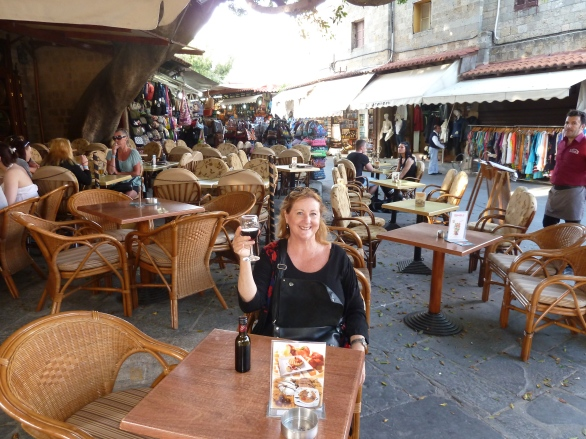 Café in the heart of the old walled city of Rodos, island of Rhodes, Greece